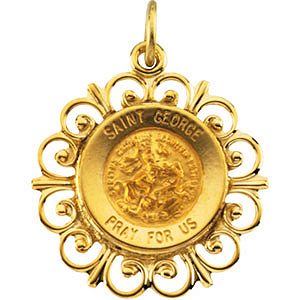 14kt Yellow Gold 18.5mm Fancy St. George Medal