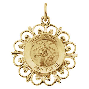 14kt Yellow Gold 3/4in Fancy St. Gerard Medal