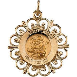 14kt Yellow Gold 3/4in Fancy St. Joseph Medal