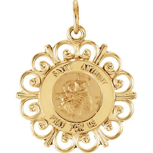 14kt Yellow Gold 3/4in St. Anthony Medal Scalloped Edges