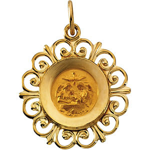 14k Yellow Gold Fancy Baptismal Medal 3/4in