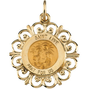 14kt Yellow Gold 18.5mm Fancy St. Anne Medal
