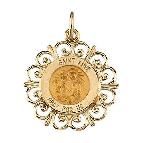 14kt Yellow Gold 18.5mm Fancy St. Anne Medal
