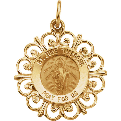 14kt Gold 3/4in St. Jude Thaddeus Medal with Scalloped Edges