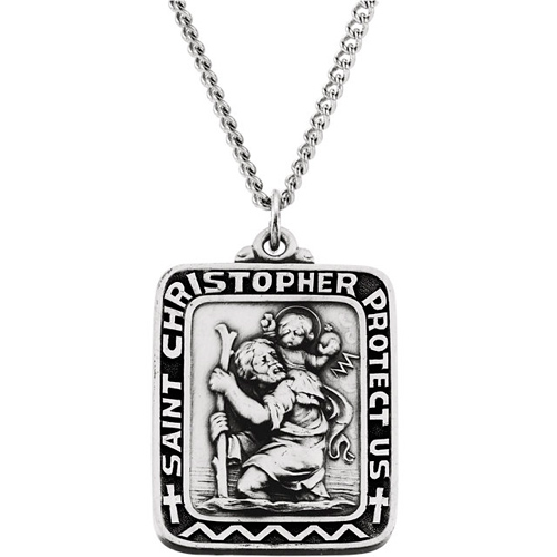 Sterling Silver 1 1/4in St. Christopher Medal & 24in Chain