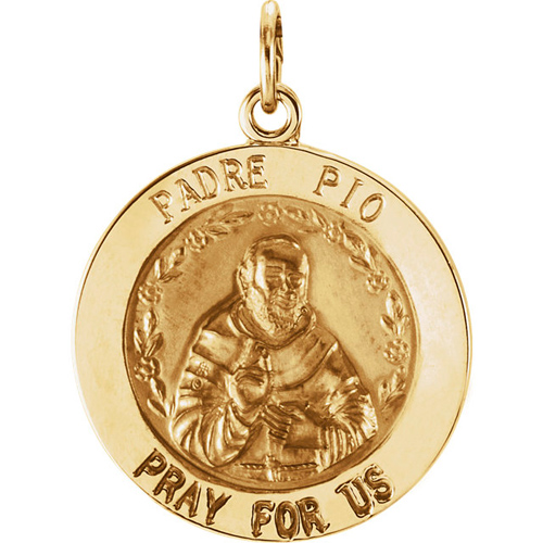 14kt Yellow Gold 18.5mm St. Padre Pio Medal