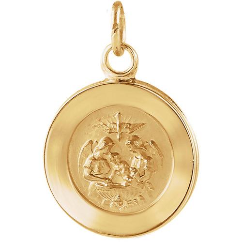 14K Gold Baptismal Medal 18mm