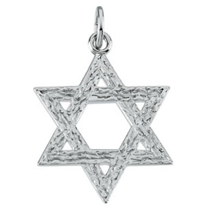 Sterling Silver Star of David Pendant 1in with 18in Chain