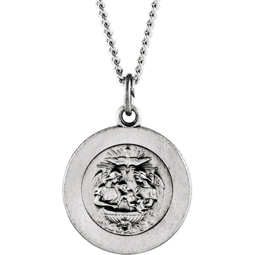 Sterling Silver 3/4in Baptismal Medal & 18in Chain