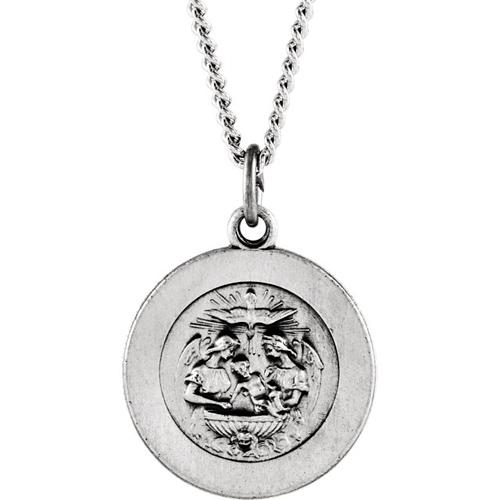 Sterling Silver 5/8in Baptismal Medal & 18in Chain
