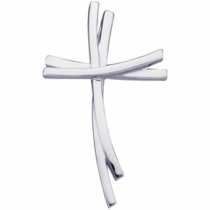 14kt White Gold 1in Staggered Cross Pendant