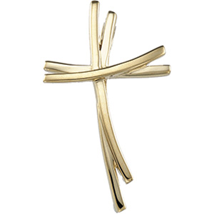 14kt Yellow Gold 1in Staggered Cross Pendant