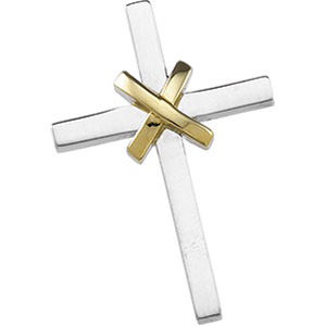 14kt Two-tone Gold 1in Wrapped Cross with Hidden Bail