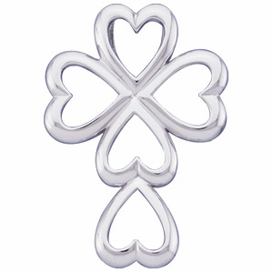 14kt White Gold 1 1/8in Hearts Cross