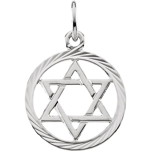 14kt White Gold 1/2in Round Textured Star of David Pendant