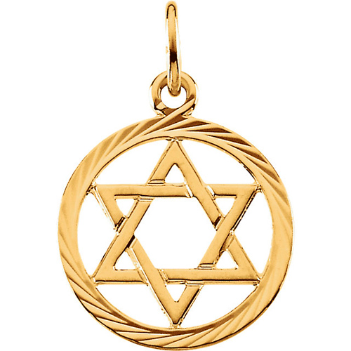 14kt Yellow Gold 1/2in Round Textured Star of David Pendant