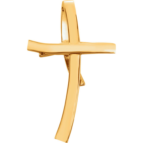 14k Yellow Gold Curved Cross Slide Pendant 1 1/2in