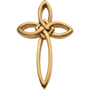 14k Yellow Gold 1 1/2in Pointed Cross