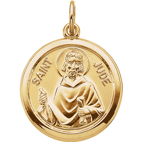 St. Jude Medal 15.5mm - 14k Yellow Gold