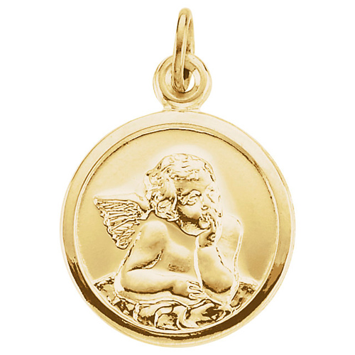 14kt Yellow Gold 1/2in Round Guardian Angel Pendant
