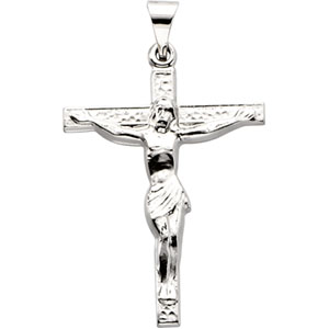 Sterling Silver 1in Polished Crucifix Pendant
