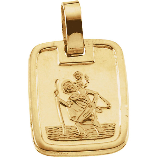 St. Christopher Medal 13.1x11.2mm - 14k Yellow Gold
