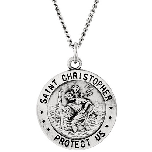St. Christopher USAF Medal 18mm & Chain - Sterling Silver
