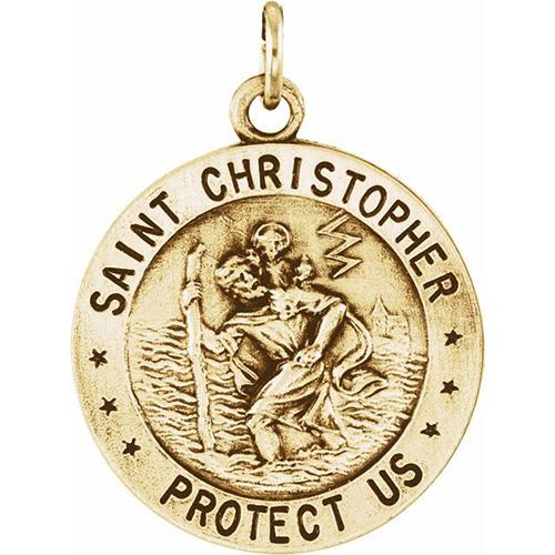 14kt Yellow Gold 18mm St. Christopher USAF Medal