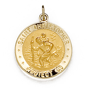 U.S. Army St Christopher 5/8in Medal - 14k Yellow Gold