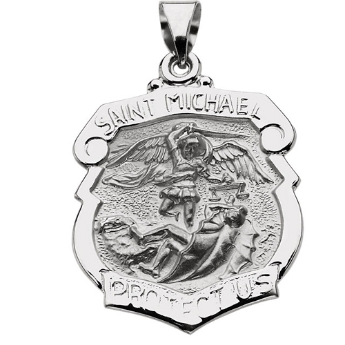 14kt White Gold 1in Hollow St. Michael Medal