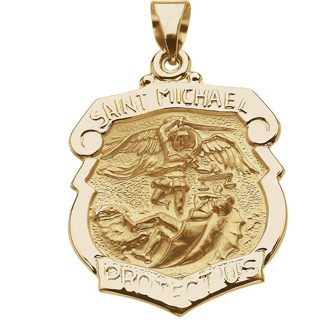14kt Yellow Gold 1in Hollow St. Michael Shield Medal