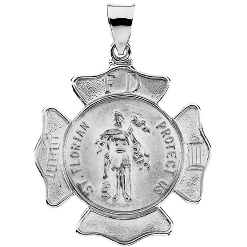 14kt White Gold 1in Hollow St. Florian Medal