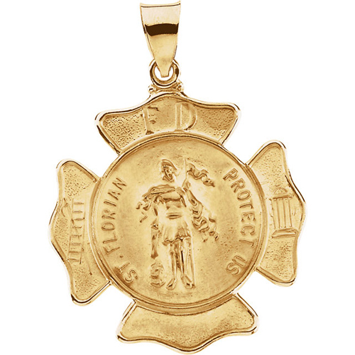 14kt Yellow Gold 1in Hollow St. Florian Medal