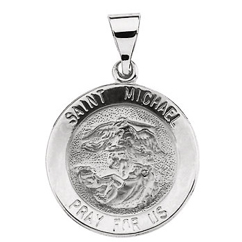 22mm Hollow St. Michael Medal - 14k White Gold