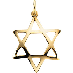 Domed Star of David 3/4in - 14k Yellow Gold