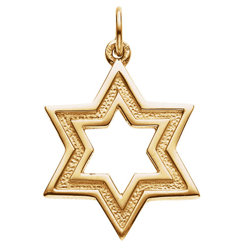 14k Yellow Gold 3/4in Cut-out Star of David Pendant