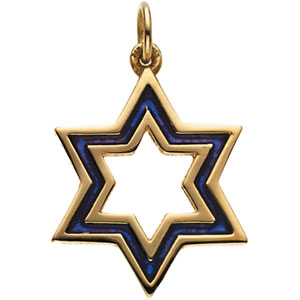 14k Yellow Gold 3/4in Star of David with Blue Enamel
