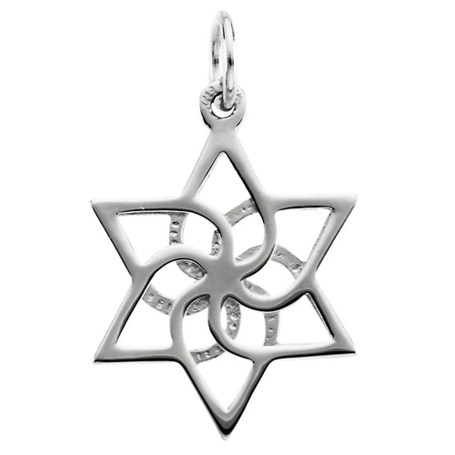 Sterling Silver 5/8in Abstract Star of David Charm