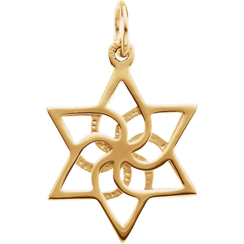 Star of David 16.5mm x 14.75mm - 14k Yellow Gold