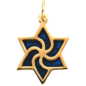 14kt Yellow Gold 5/8in Star of David Charm with Blue Enamel