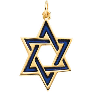14kt Yellow Gold 1in Star of David Blue Enamel Pendant