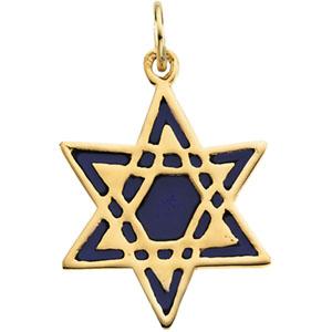 Star of David Blue Enamel 3/4in - 14k Yellow Gold