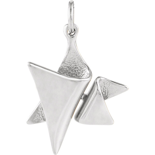 Sterling Silver 3/4in Folded Textured Star of David Pendant