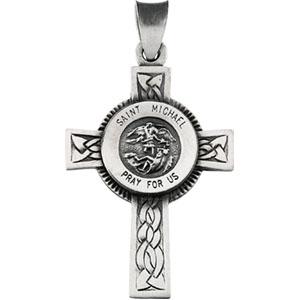 Sterling Silver 1 1/8in St. Michael Cross