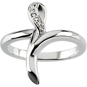 Cross Ring with Diamond Accents - 14k White Gold