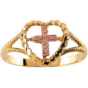 Rose Cross Ring - 14k Yellow Gold