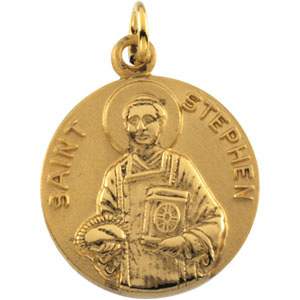 14kt Yellow Gold 18mm St. Stephen Medal