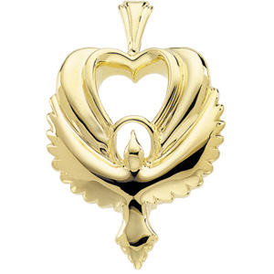 14KY Gold Dove and Heart Pendant 30x20mm