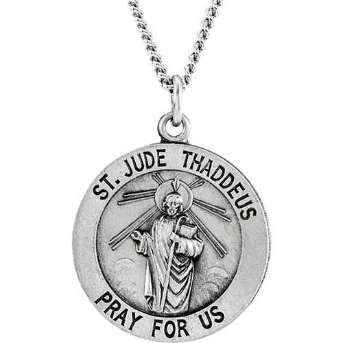 Sterling Silver 18.5mm St. Jude Medal with Chain