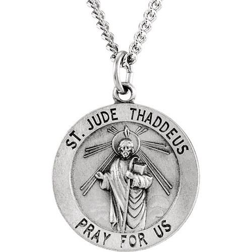 Sterling Silver 22mm St. Jude Medal with 24in Chain